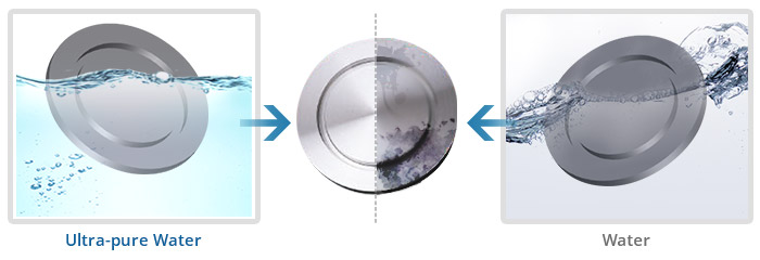 pipe fitting before and after using ultrasonic and RO water self-cleaning system
